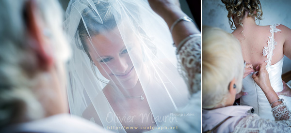 Préparatifs habillage de la mariée