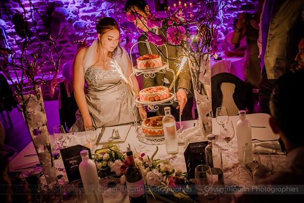 portrait de la mariée avec le gâteau