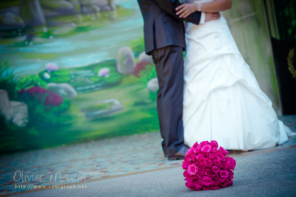 Photo de détails du bouquet de la mariée