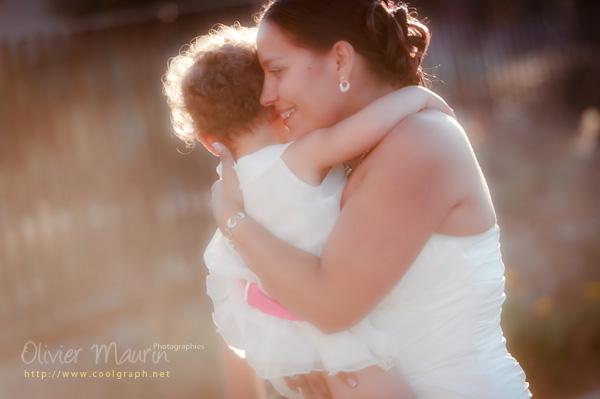 Photo de la mariée avec sa fille